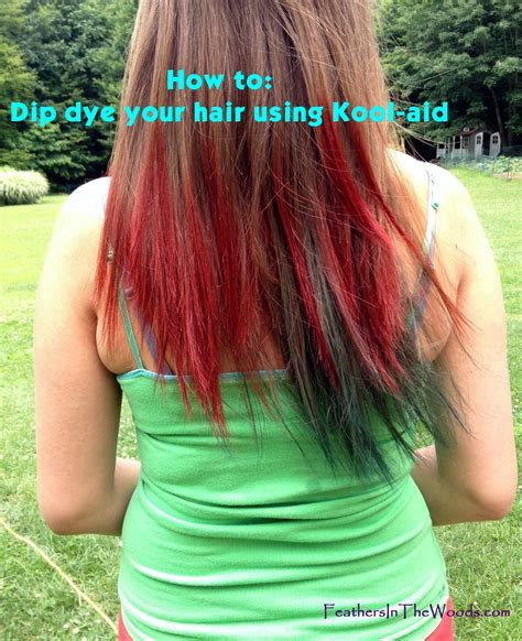 color hair with kool aid feathers in the woods dip dyed kool aid hair