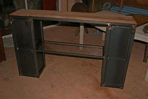Console Style Industriel : cr ation meuble fabrication sur mesure meuble bois m tal industriel tendance ~ Teatrodelosmanantiales.com Idées de Décoration