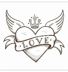 Heart with banner and crown vector - by Chuhail on ...