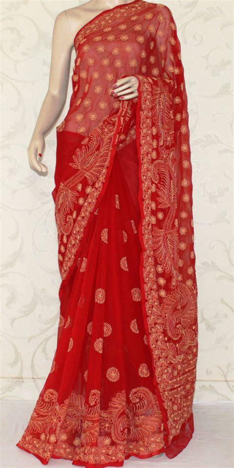 buy hand embroidered lucknowi chikankari saree