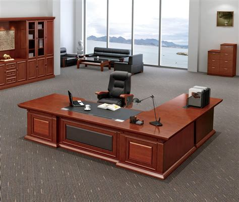 modern luxury wood l shaped ceo maneger executive