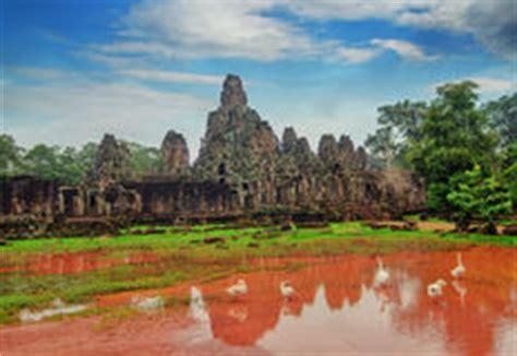 Tempio Di Prohm Di Tum Con L'albero Di Banyan Gigante Al