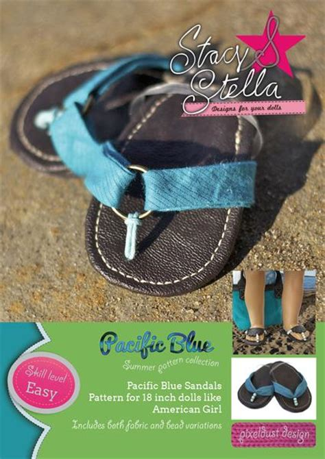 pacific blue sandals   doll shoes pattern