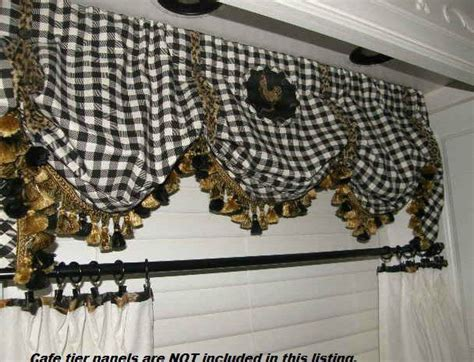 balloon valance french country lecoq toile leopard check black gold tassel trim tassels black