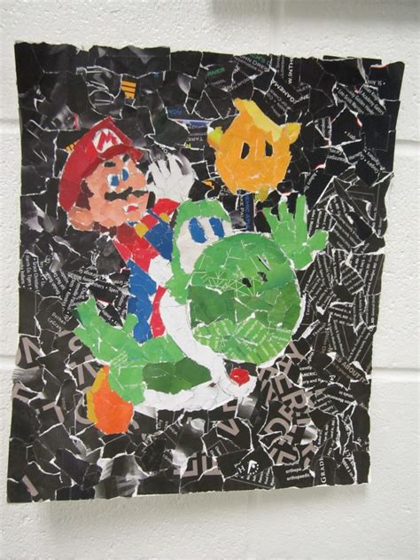 Torn Paper Collage Mario Collage Pinterest Paper