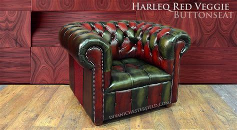 Divano Chesterfield Vintage Patchwork Verde E Rosso, Nuovo