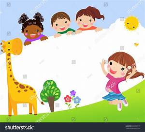 Color Frame With Group Of Kids And Giraffe,Background ...