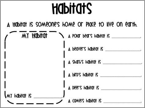 animal habitats for worksheets 5 my classroom