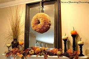 Chic on a shoestring decorating budget friendly fall mantel for Fall mantel decor