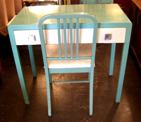 simmons painted metal writing table with chair sold