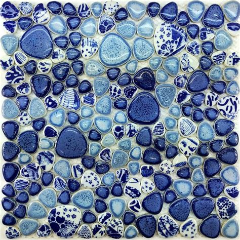 glazed blue white porcelain wall tile ppmt pebble