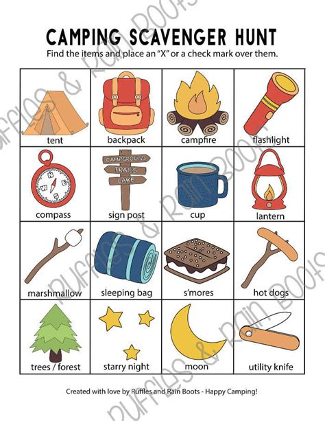 camping scavenger hunt printables   age groups