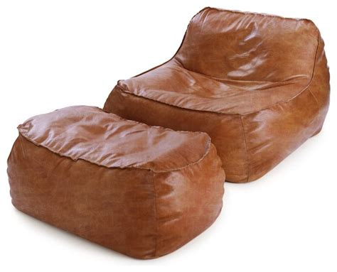 rust leather bean bag lounge chair ottoman