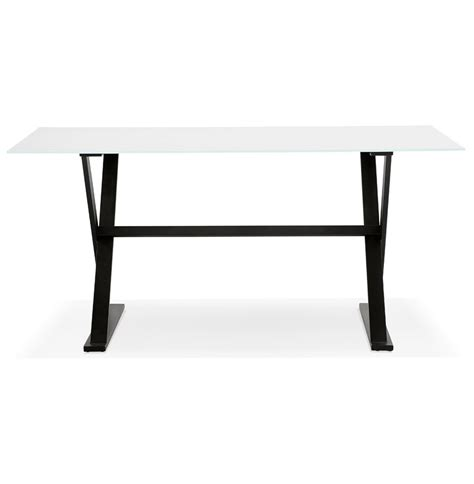 table bureau blanc table design en verre blanc bureau moderne 160x80 cm