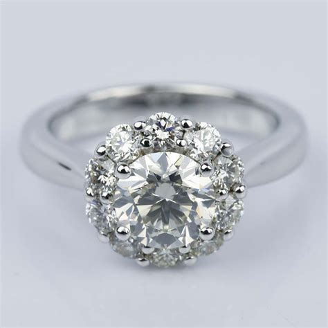 floral halo diamond engagement ring in white gold 1 13 ct