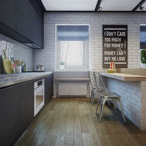 White Brick Floor Kitchen by Apartment Designs For A Small Family And A