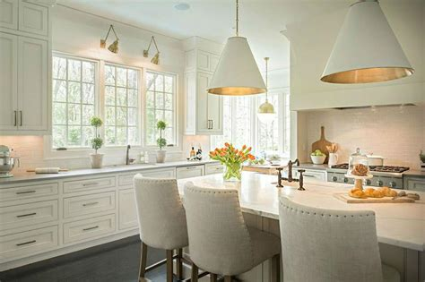 Island With White Leather Barrel Back Counter Stools
