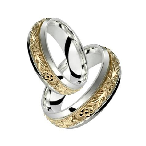 white gold wedding rings sets for him and 10k yellow gold w sterling silver ring floral 1341