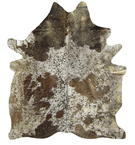 Metallic Cowhide devore metallic brown and white cowhide with gold cowhide