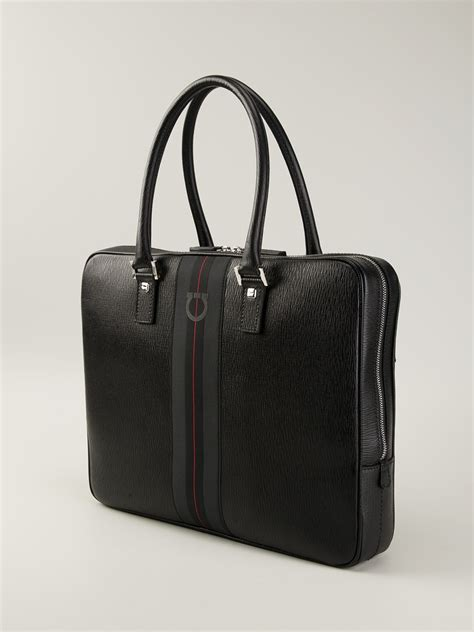 lyst ferragamo branded laptop bag  black  men