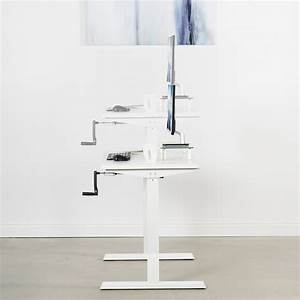Vivo White Manual Height Adjustable Stand Up Desk Frame