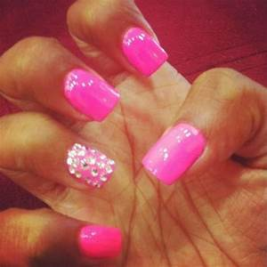 neon pink nails with rhinestones Nails