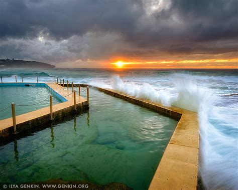 sunrise  south curl curl tidal pool print  fine