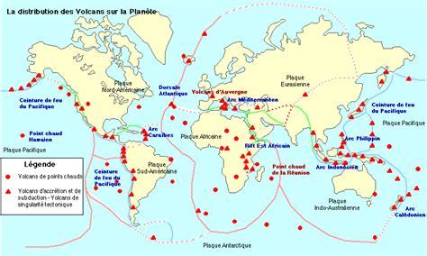 Carte Des Volcans Actifs Dans Le Monde by Les Volcans