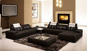black leather sectional sofa with coffee table vg005d With coffee table for a sectional sofa