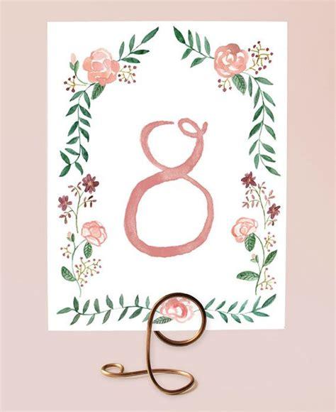 printable table numbers watercolor flower border