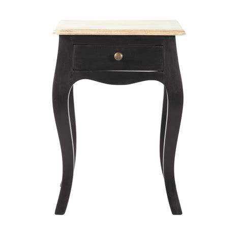 Table De Chevet Avec Tiroir En Manguier Noir  Tables De