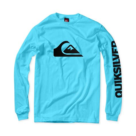 Tshirt Quiksilver Logo White lyst quiksilver mountain wave sleeve tshirt in blue
