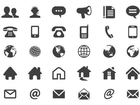 set of numerous contact icons in flat silhouette style