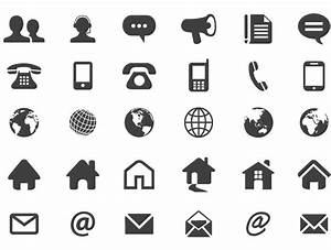 Set of numerous contact icons in flat silhouette style ...