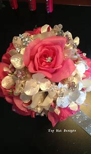 Pink Roses Nestled in a Pearl Hydrangea with Rhinestone ...