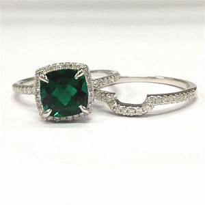 758 cushion emerald engagement ring sets pave diamond With wedding ring emerald