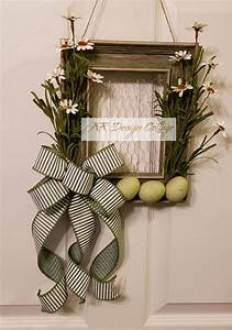 Sold, Green, Spring, Easter, Wreath, Frame, With, Eggs, Daisies, And, Chicken, Wire