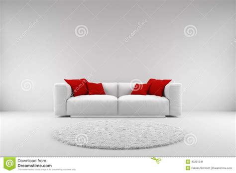 red and white sofa white couch with red pillows stock illustration