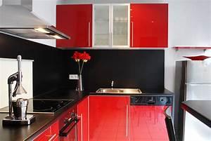 Meuble Cuisine Rouge Laqué : meuble de cuisine rouge laqu maison et mobilier d 39 int rieur ~ Teatrodelosmanantiales.com Idées de Décoration