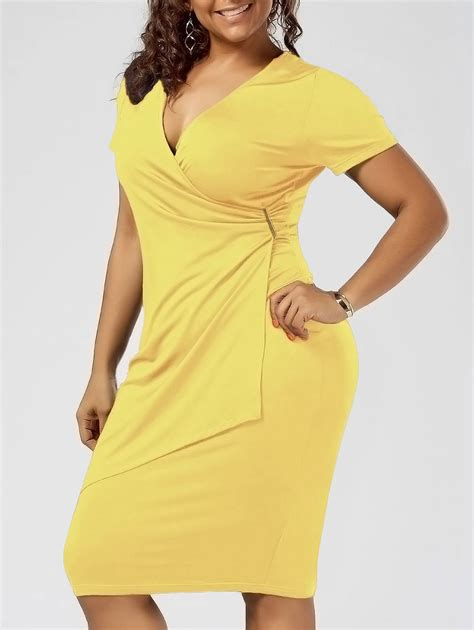 dresses yellow xl  size overlap fitted surplice dress gamiss