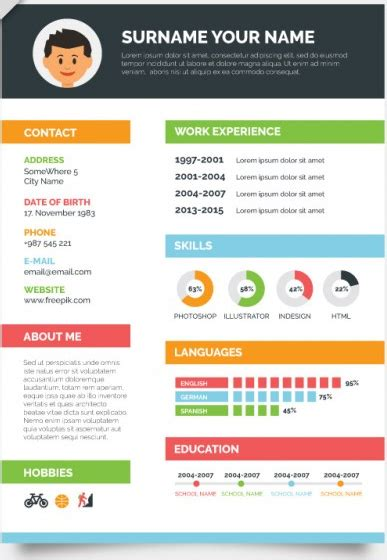Visual Resume Templates Free by Colorful Resume Modern Day Resumes Creative Resume