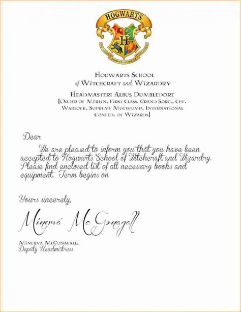 beautiful hogwarts acceptance letter envelope template