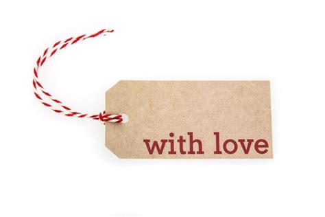 6 Brown With Love Gift Tags Printed In Red  Sophies Ribbons