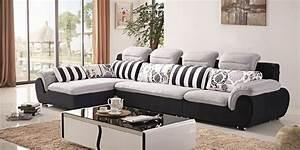 L shape fabric sofa set new design 2018 2019 sofakoe for Long island sectional sofa grey fabric