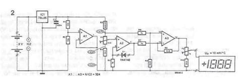 Thermometer Circuit Schematic Using Operational Amplifiers