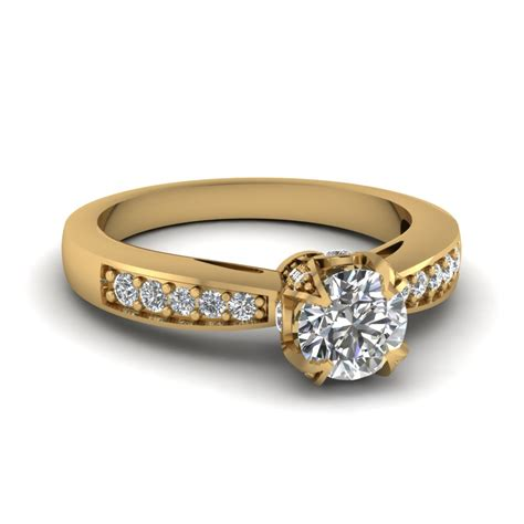 cathedral crown cut womens wedding diamond ring in 14k yellow gold fascinating diamonds
