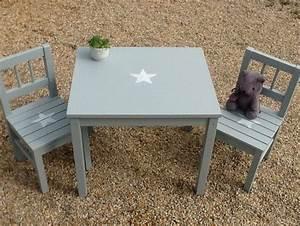 Table Basse Enfant : ensemble pour enfant table et 2chaises en bois patin bleu gris avec toiles bebe d and tables ~ Teatrodelosmanantiales.com Idées de Décoration