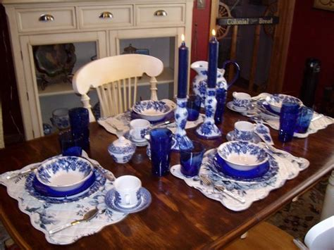 breakfast table setting  blue willow