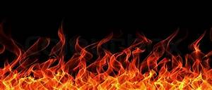 Seamless fire and flame border on black background Stock