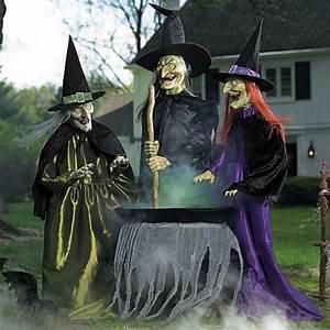 Set, 3, Lifesize, Animated, Witches, Coven, W, Cauldron, Outdoor, Halloween, Prop, Decor